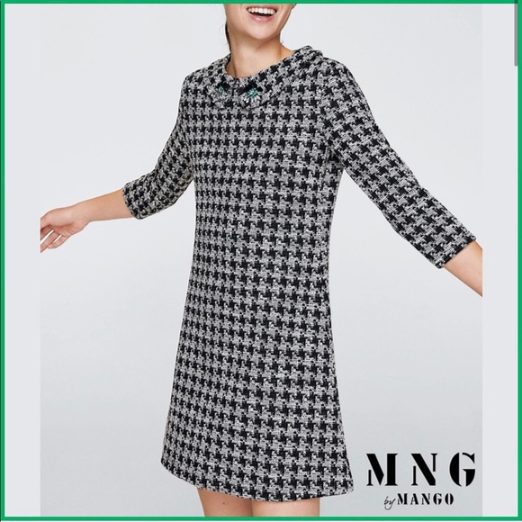 Mango houndstooth shift dress